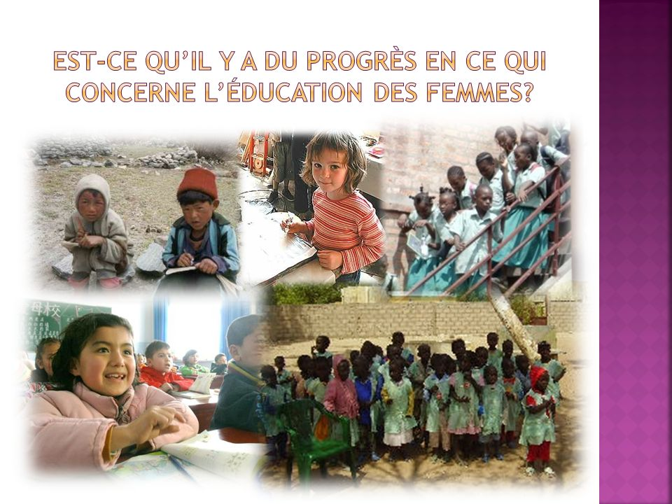 Est-ce qu'il y a du Progrès en ce qui concerne l'éducation des femmes