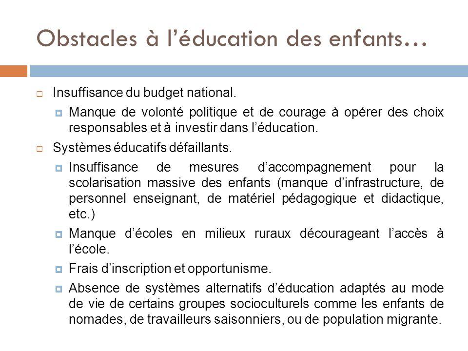 Obstacles à l'éducation des enfants…