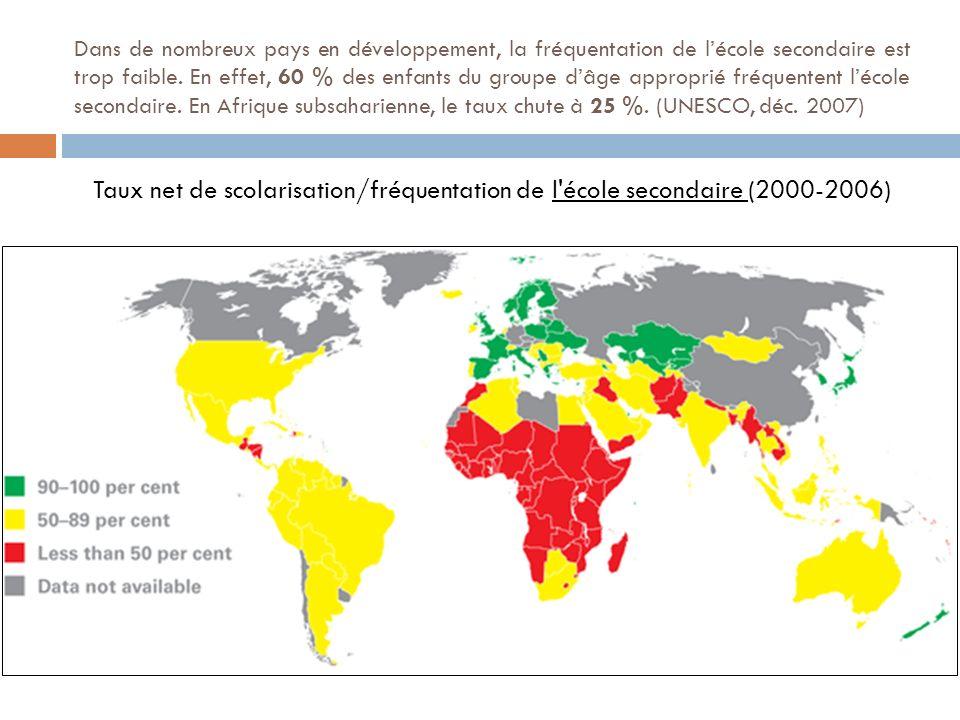 Dans de nombreux pays en développement, la fréquentation de l'école secondaire est trop faible. En effet, 60 % des enfants du groupe d'âge approprié fréquentent l'école secondaire. En Afrique subsaharienne, le taux chute à 25 %. (UNESCO, déc. 2007)