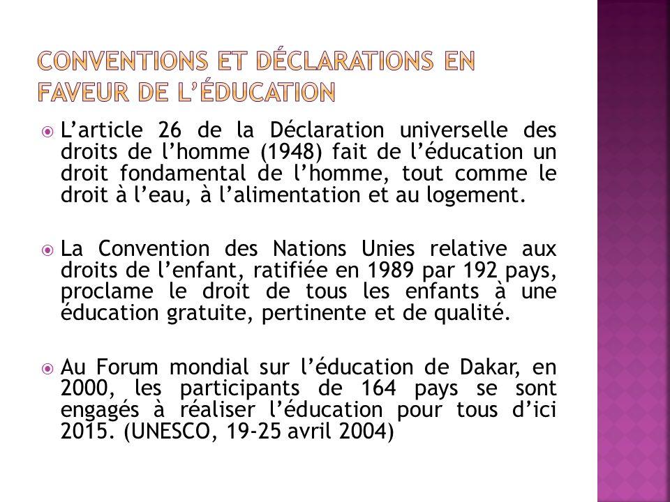 Conventions et déclarations en faveur de l'éducation