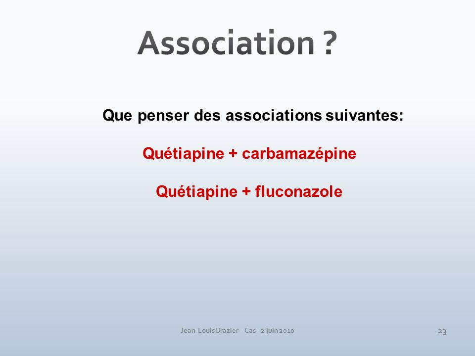 Association Que penser des associations suivantes: