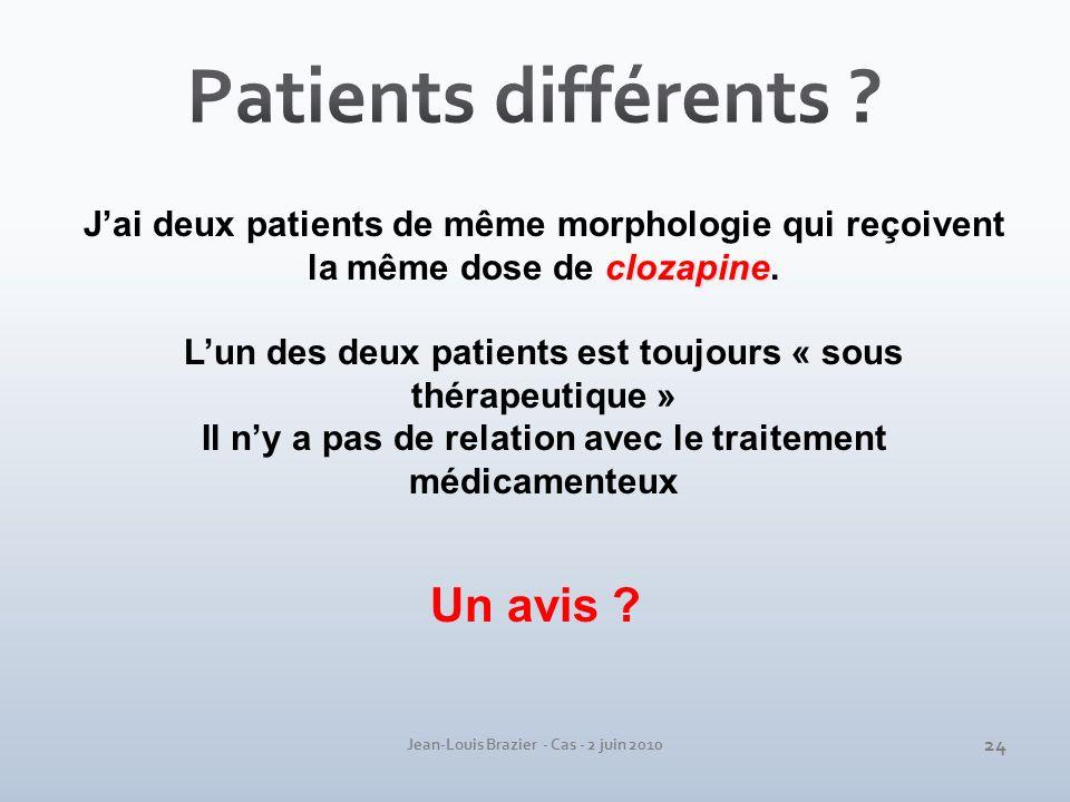 Patients différents Un avis