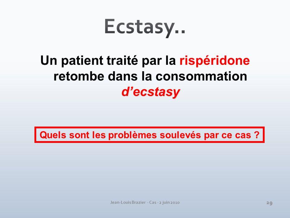 Ecstasy.. Un patient traité par la rispéridone retombe dans la consommation d'ecstasy. Quels sont les problèmes soulevés par ce cas