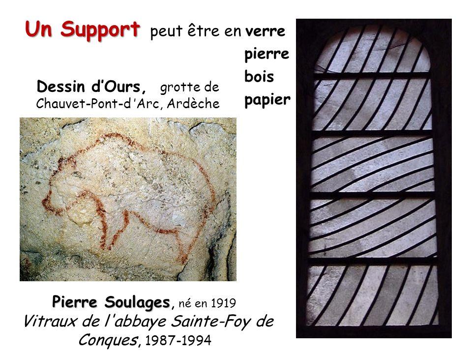 Un Support peut être en verre pierre bois papier