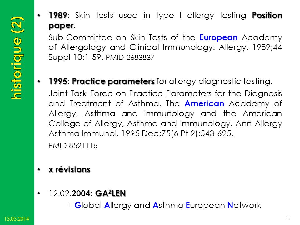 1989: Skin tests used in type I allergy testing Position paper.
