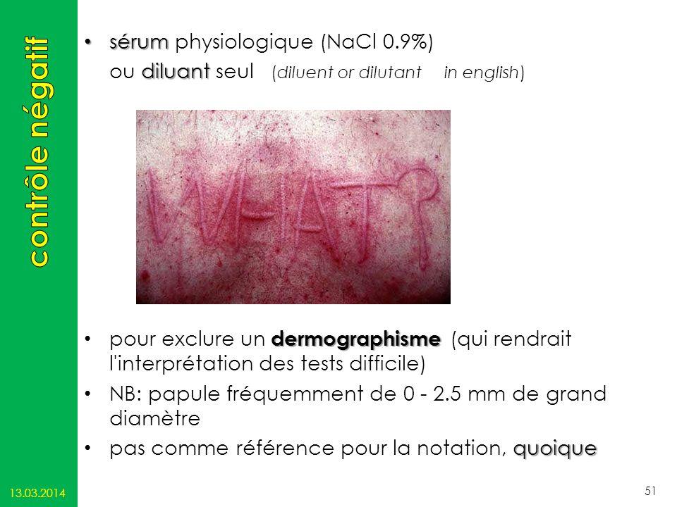 contrôle négatif sérum physiologique (NaCl 0.9%)