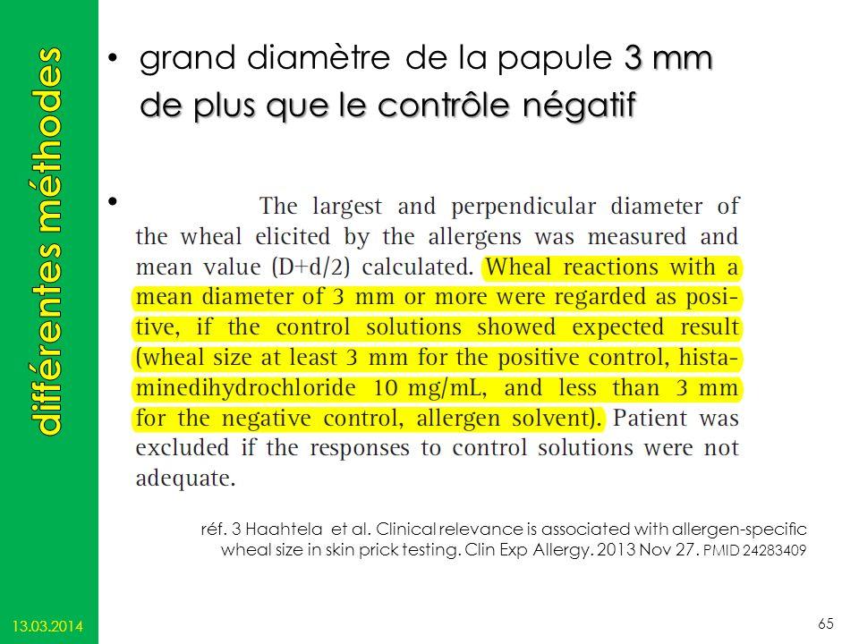 différentes méthodes grand diamètre de la papule 3 mm