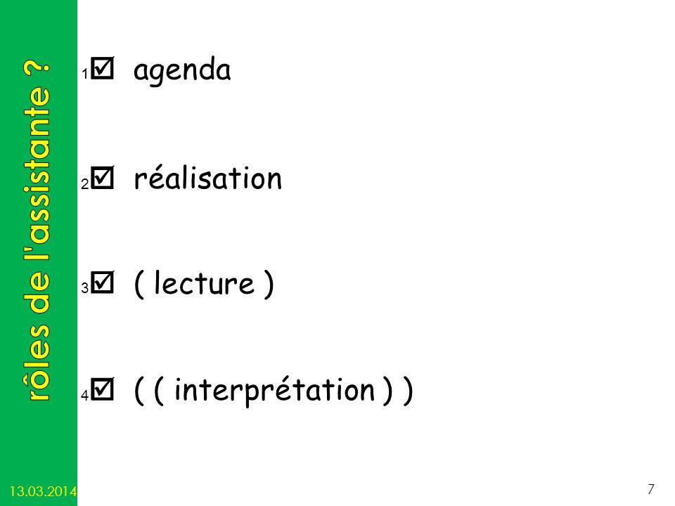 rôles de l assistante  agenda  réalisation  ( lecture )