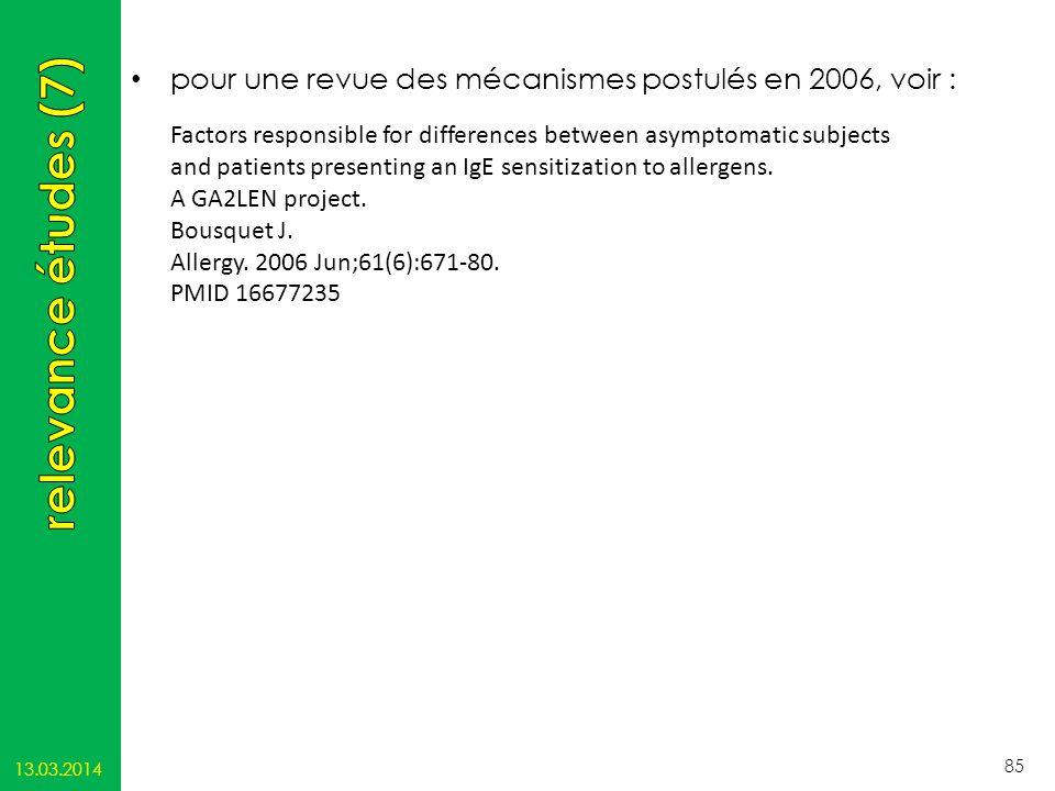 pour une revue des mécanismes postulés en 2006, voir :
