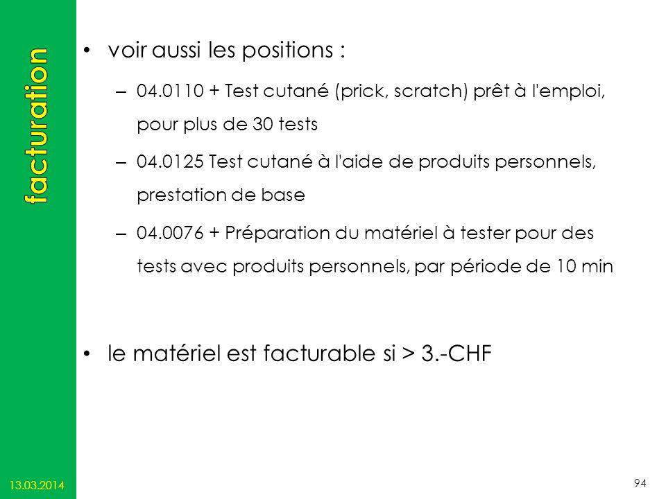 facturation voir aussi les positions :