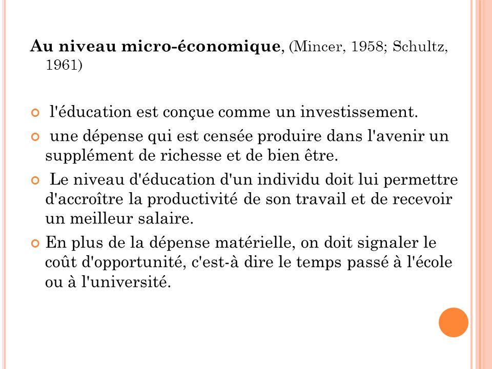 Au niveau micro-économique, (Mincer, 1958; Schultz, 1961)