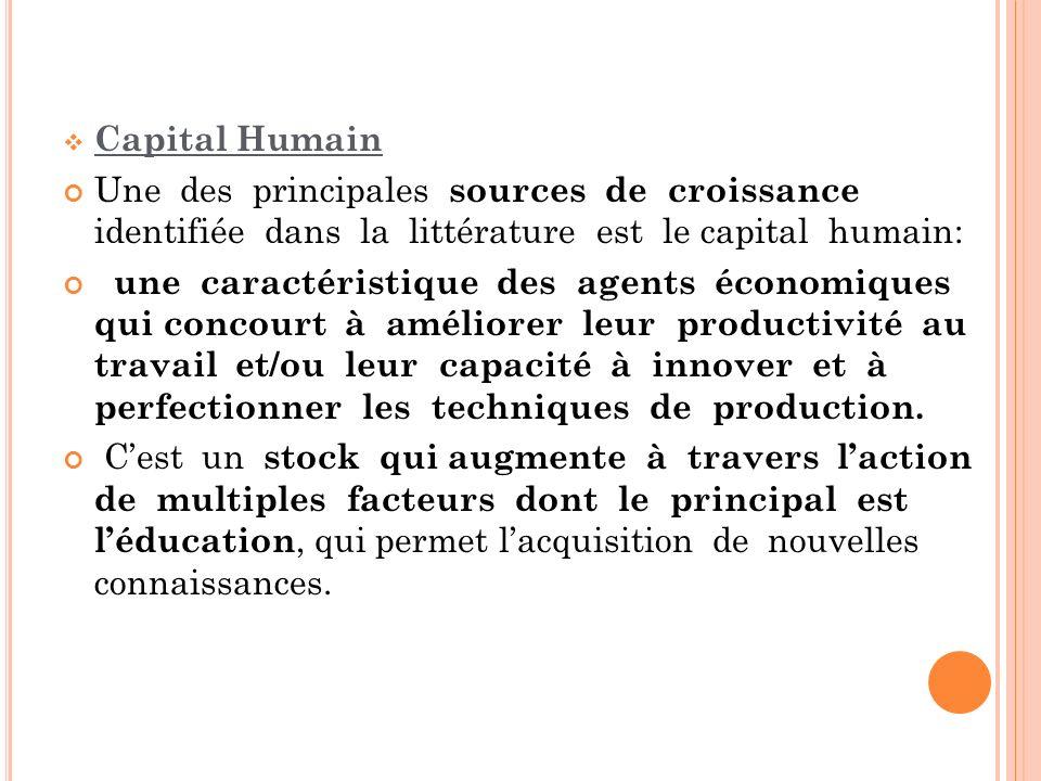 Capital Humain Une des principales sources de croissance identifiée dans la littérature est le capital humain: