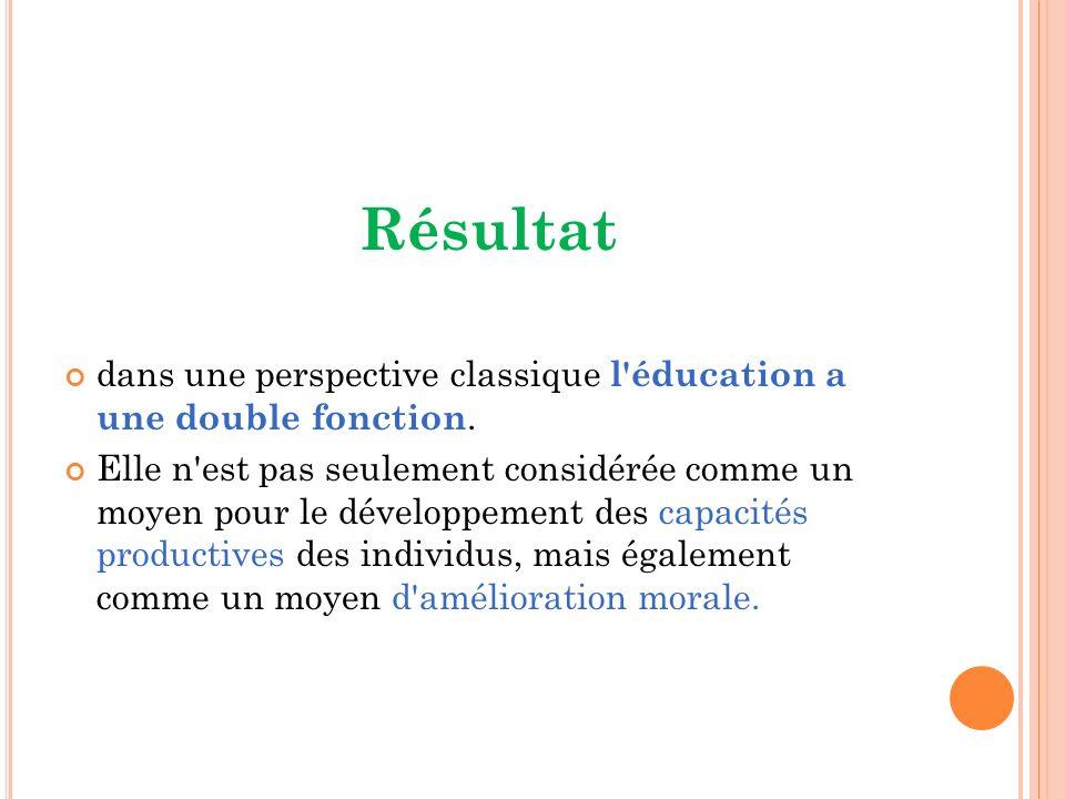 Résultat dans une perspective classique l éducation a une double fonction.