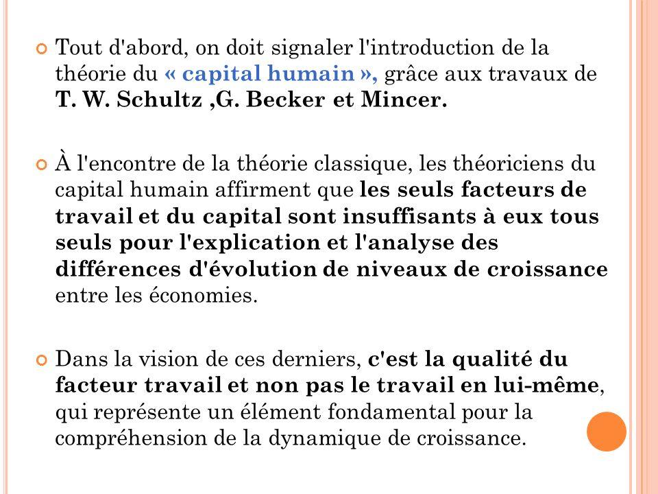 Tout d abord, on doit signaler l introduction de la théorie du « capital humain », grâce aux travaux de T. W. Schultz ,G. Becker et Mincer.