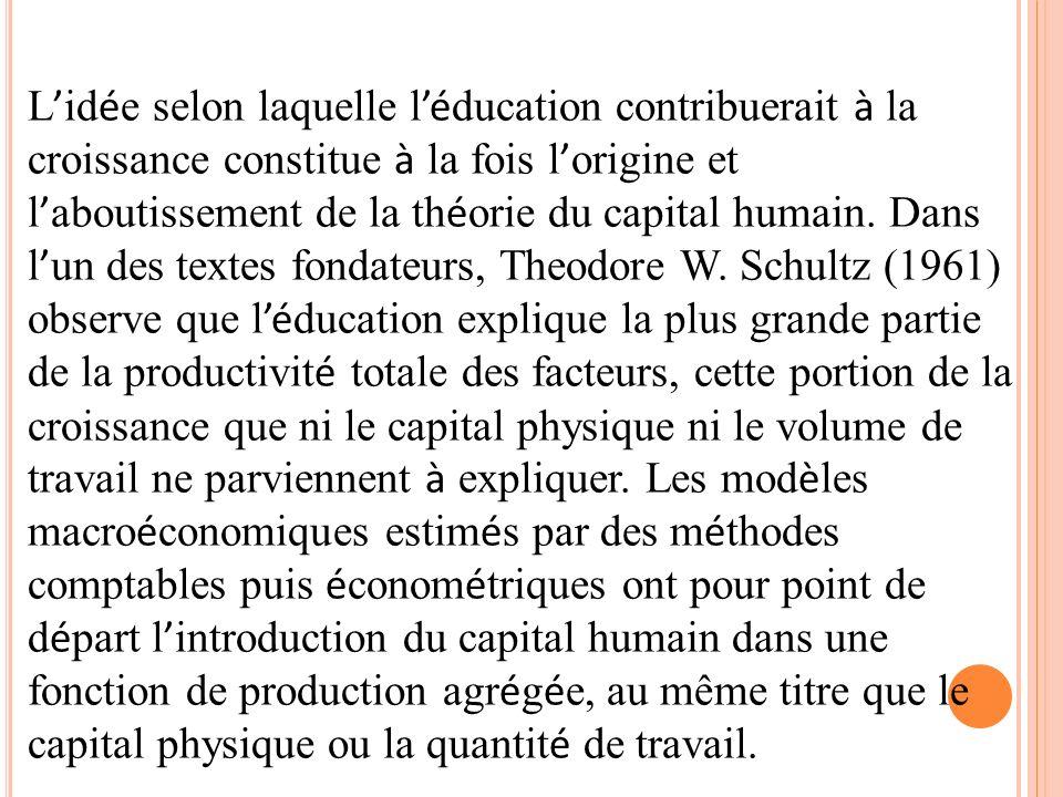 L'idée selon laquelle l'éducation contribuerait à la croissance constitue à la fois l'origine et l'aboutissement de la théorie du capital humain.