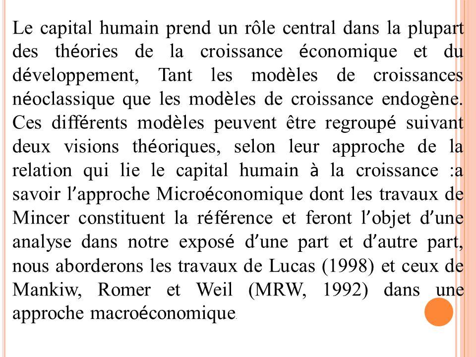 Le capital humain prend un rôle central dans la plupart des théories de la croissance économique et du développement, Tant les modèles de croissances néoclassique que les modèles de croissance endogène.