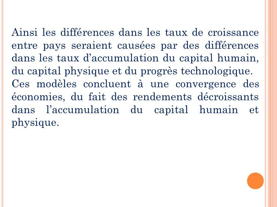 Ainsi les différences dans les taux de croissance entre pays seraient causées par des différences dans les taux d'accumulation du capital humain, du capital physique et du progrès technologique.