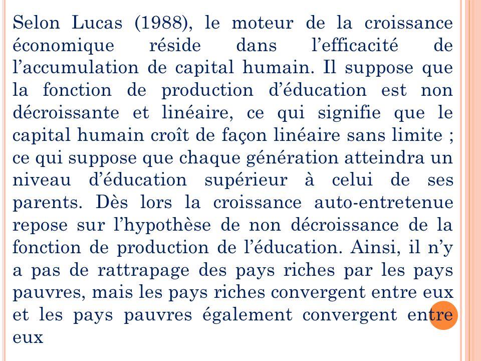 Selon Lucas (1988), le moteur de la croissance économique réside dans l'efficacité de l'accumulation de capital humain.