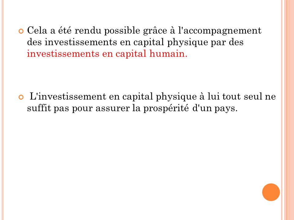Cela a été rendu possible grâce à l accompagnement des investissements en capital physique par des investissements en capital humain.