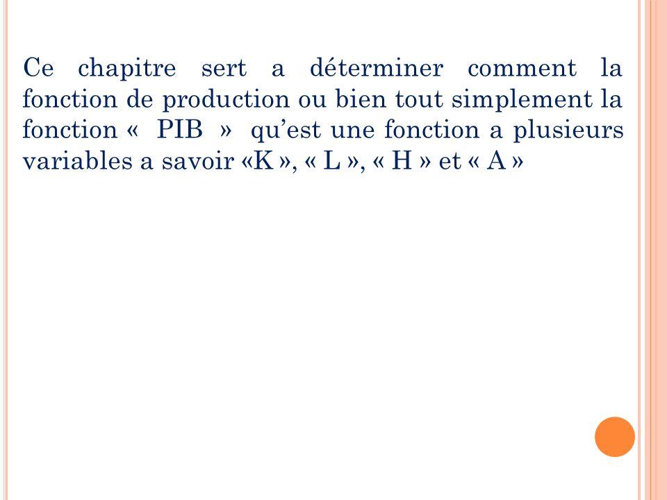 Ce chapitre sert a déterminer comment la fonction de production ou bien tout simplement la fonction « PIB » qu'est une fonction a plusieurs variables a savoir «K », « L », « H » et « A »