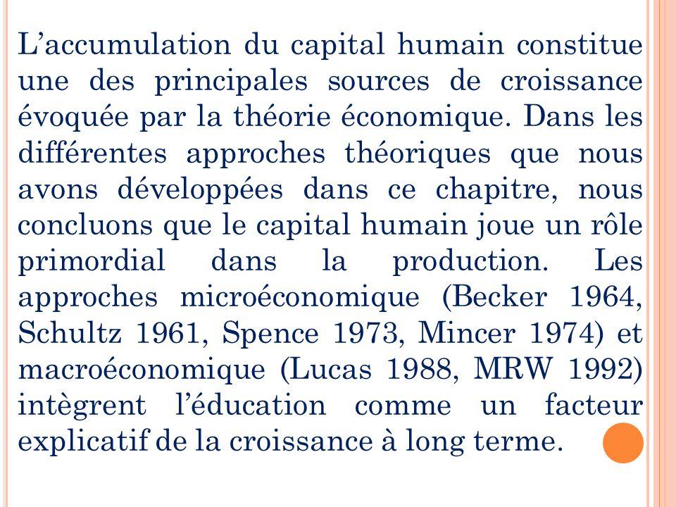 L'accumulation du capital humain constitue une des principales sources de croissance évoquée par la théorie économique.