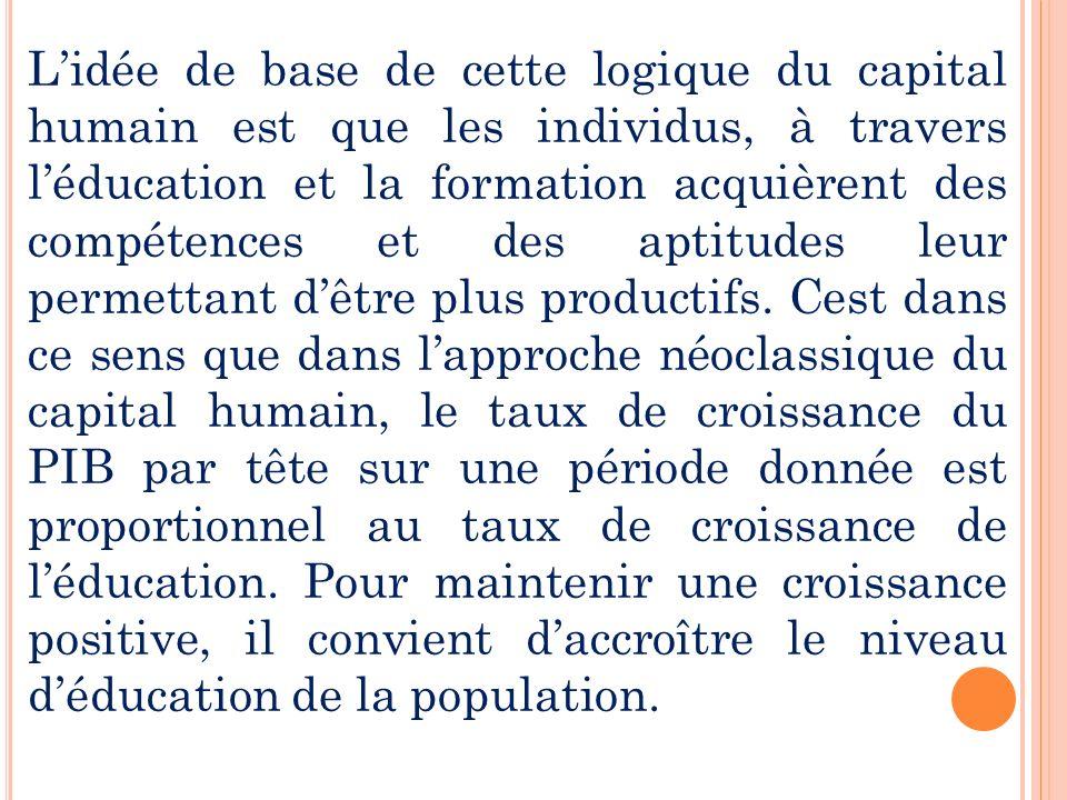 L'idée de base de cette logique du capital humain est que les individus, à travers l'éducation et la formation acquièrent des compétences et des aptitudes leur permettant d'être plus productifs.
