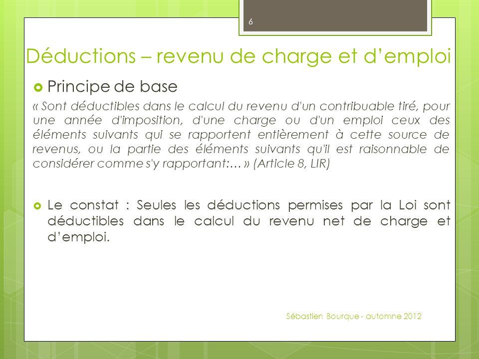 Déductions – revenu de charge et d'emploi