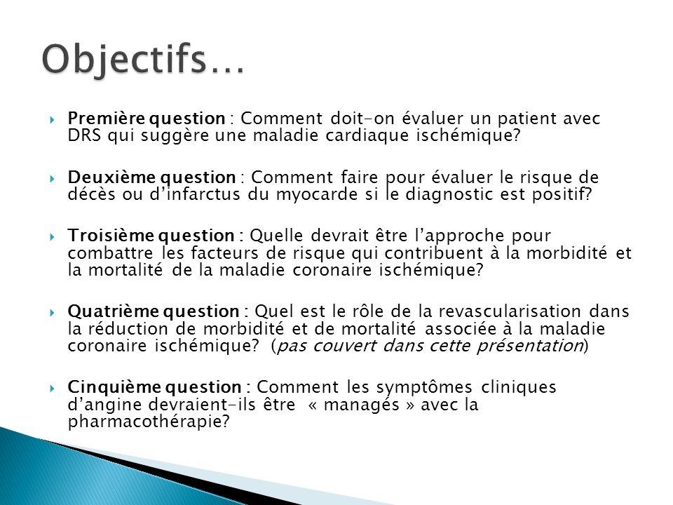 Objectifs… Première question : Comment doit-on évaluer un patient avec DRS qui suggère une maladie cardiaque ischémique