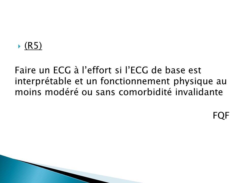 (R5) Faire un ECG à l'effort si l'ECG de base est interprétable et un fonctionnement physique au moins modéré ou sans comorbidité invalidante.