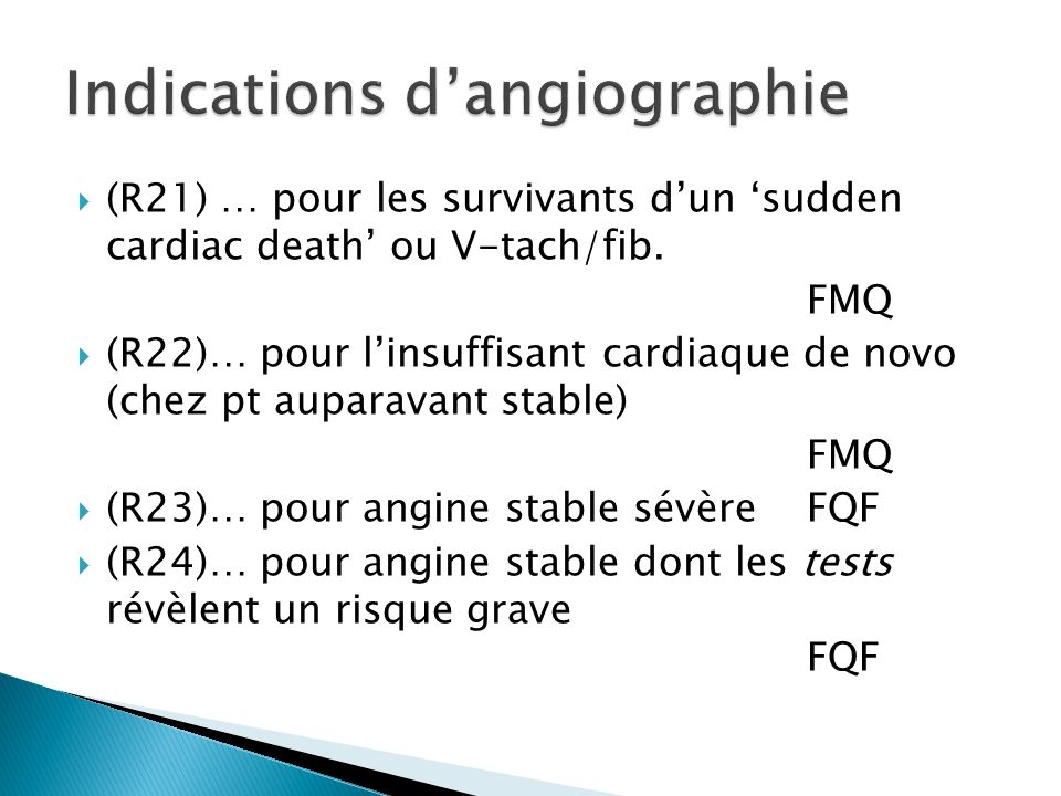 Indications d'angiographie