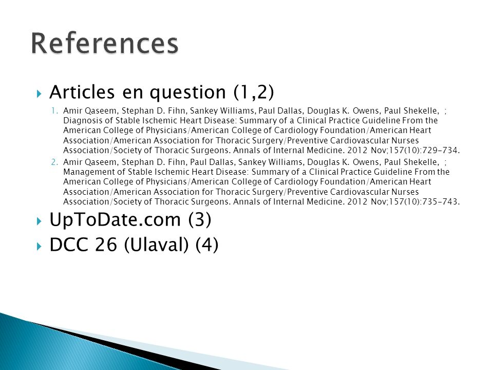 References Articles en question (1,2) UpToDate.com (3)