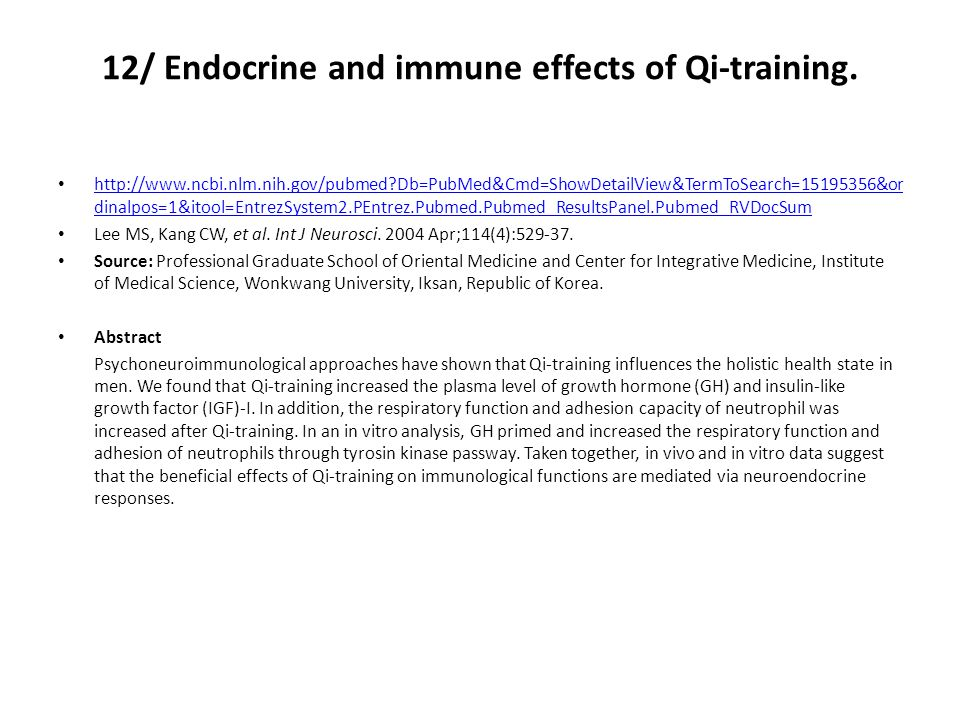 12/ Endocrine and immune effects of Qi-training.