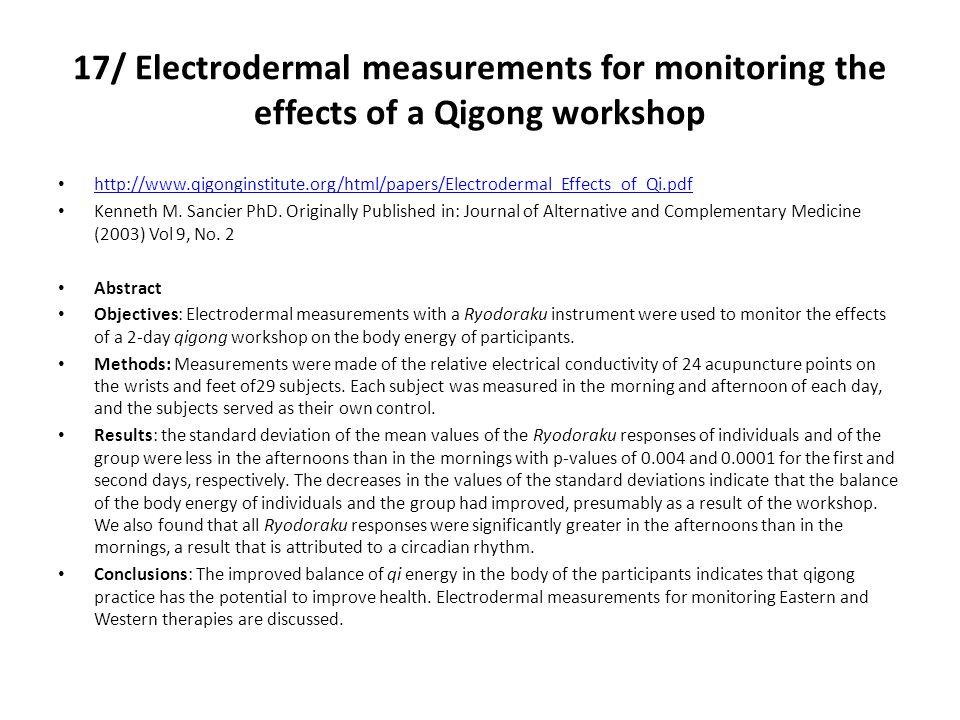 17/ Electrodermal measurements for monitoring the effects of a Qigong workshop