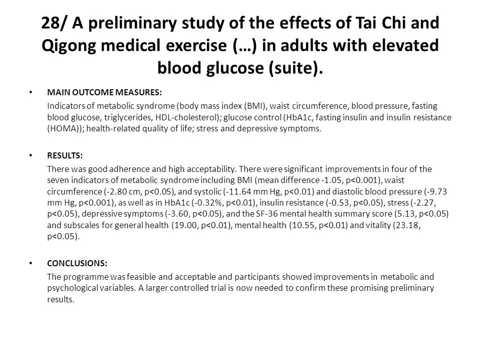 28/ A preliminary study of the effects of Tai Chi and Qigong medical exercise (…) in adults with elevated blood glucose (suite).