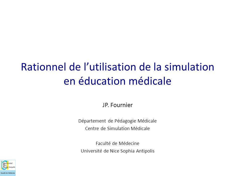 Rationnel de l'utilisation de la simulation en éducation médicale