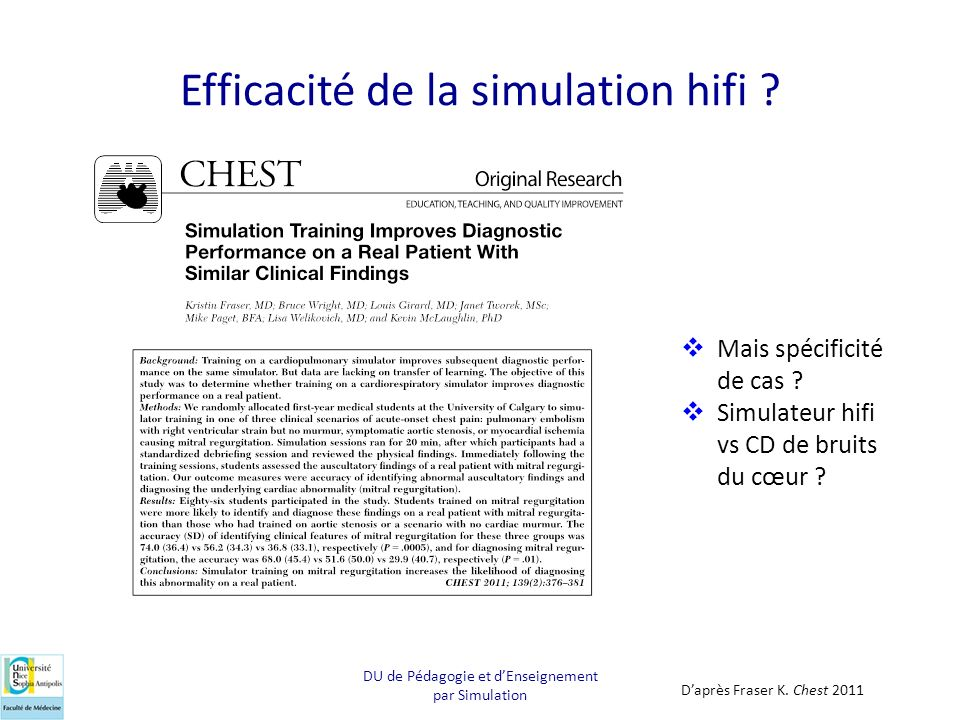 Efficacité de la simulation hifi