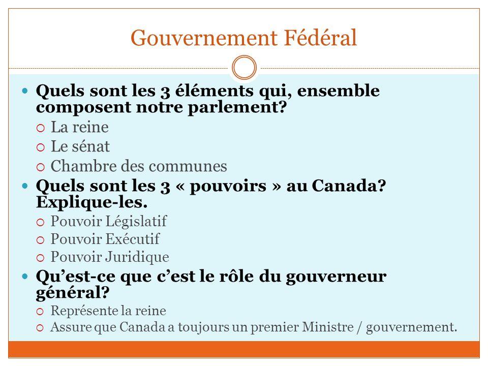Gouvernement Fédéral Quels sont les 3 éléments qui, ensemble composent notre parlement La reine. Le sénat.