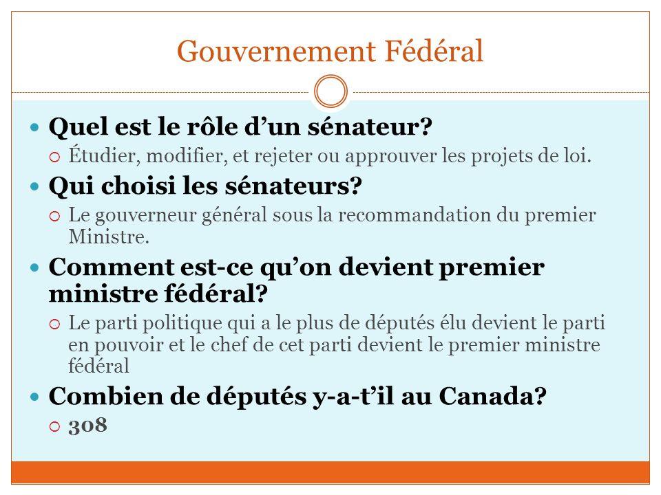 Gouvernement Fédéral Quel est le rôle d'un sénateur