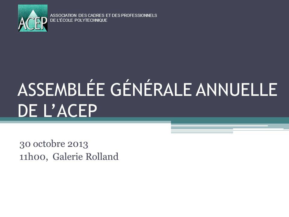ASSEMBLÉE GÉNÉRALE ANNUELLE DE L'ACEP