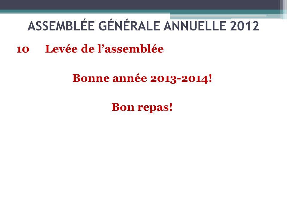 ASSEMBLÉE GÉNÉRALE ANNUELLE 2012