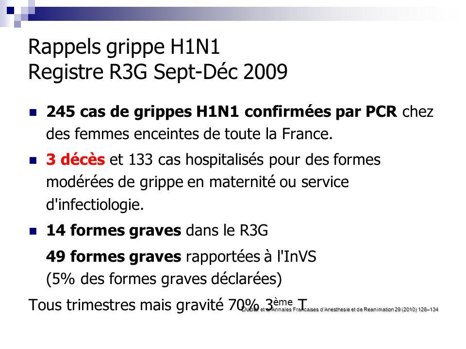 Rappels grippe H1N1 Registre R3G Sept-Déc 2009