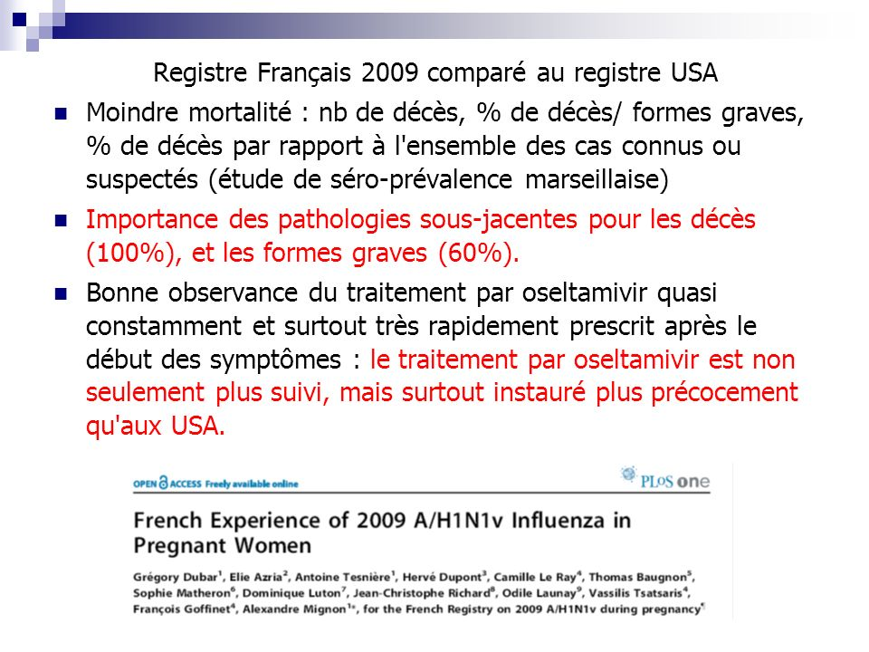 Registre Français 2009 comparé au registre USA
