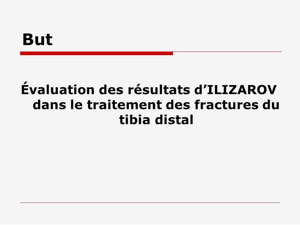 But Évaluation des résultats d'ILIZAROV dans le traitement des fractures du tibia distal