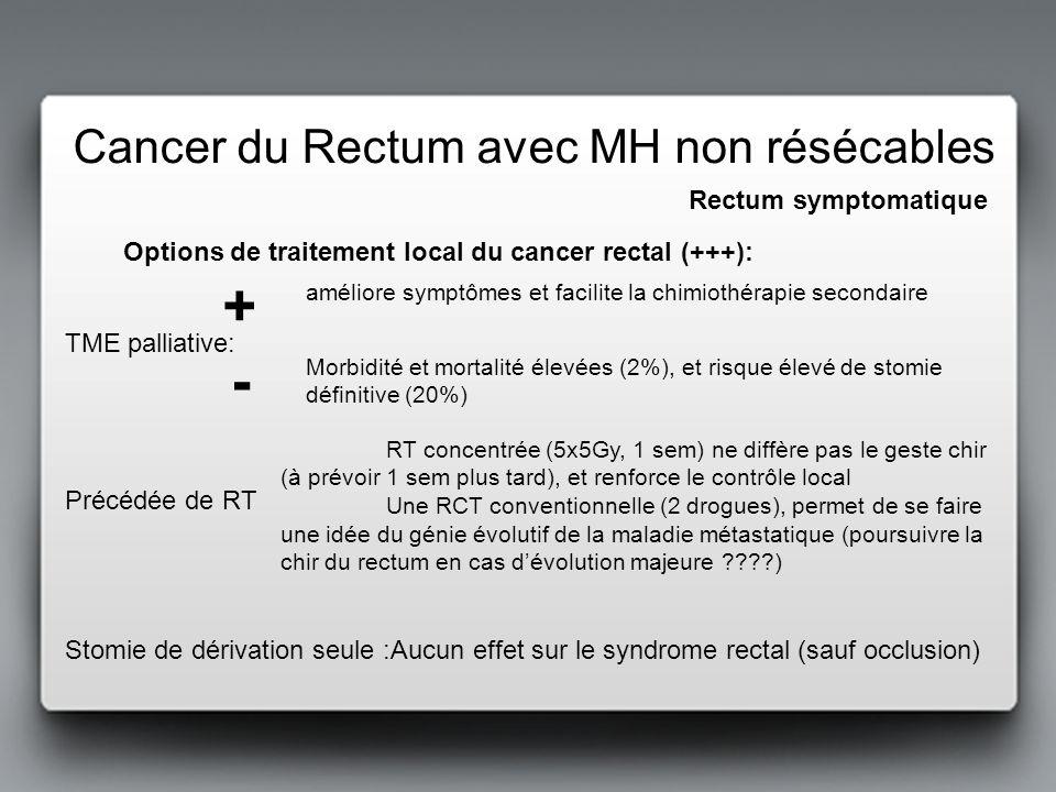+ - Cancer du Rectum avec MH non résécables Rectum symptomatique