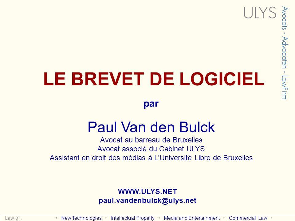 LE BREVET DE LOGICIEL Paul Van den Bulck par