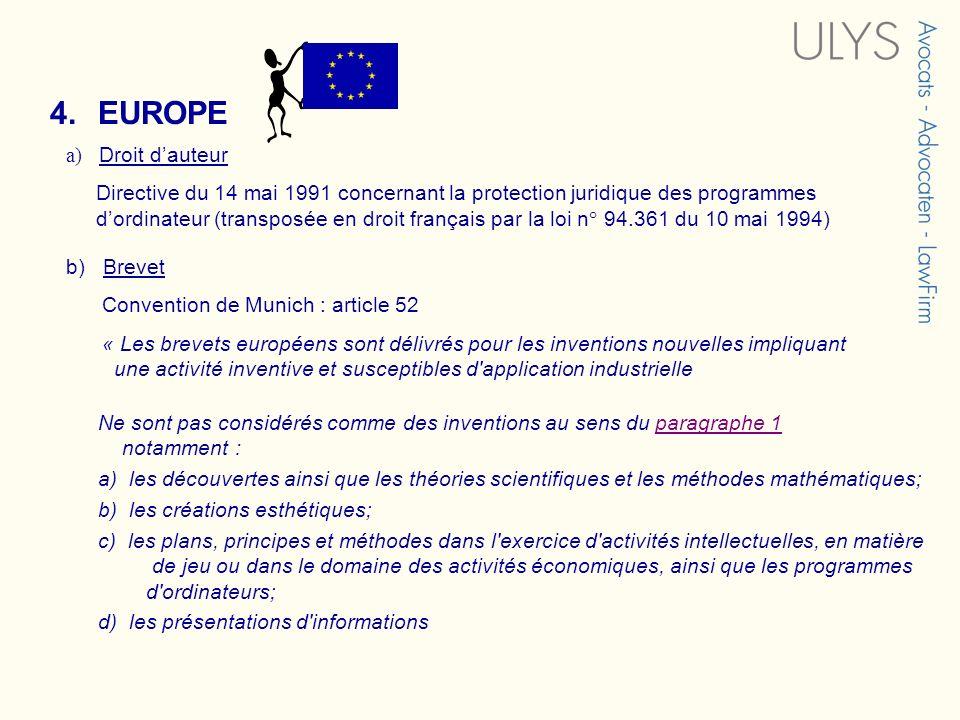 4. EUROPE a) Droit d'auteur