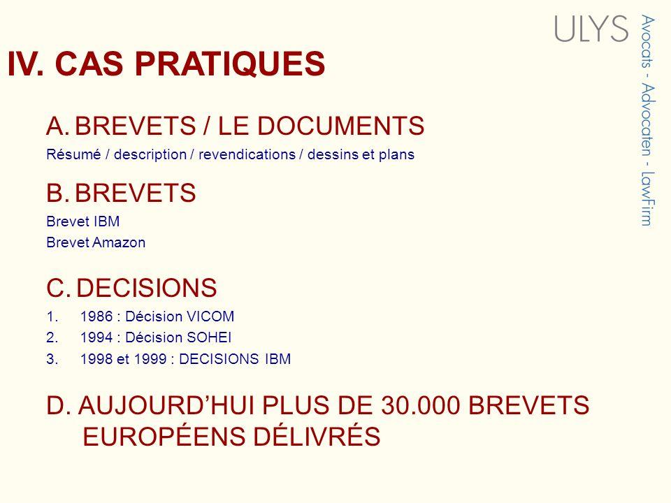 IV. CAS PRATIQUES A. BREVETS / LE DOCUMENTS B. BREVETS C. DECISIONS