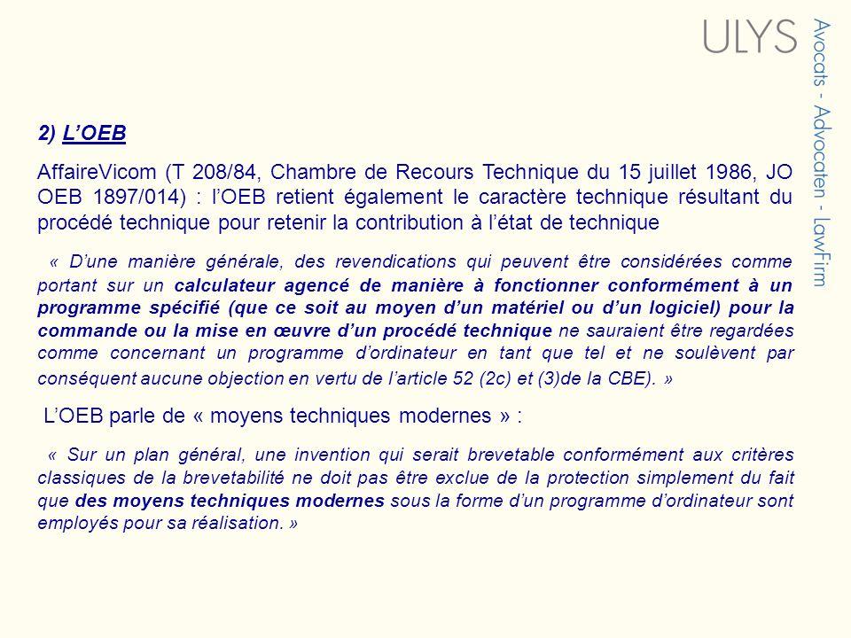 2) L'OEB