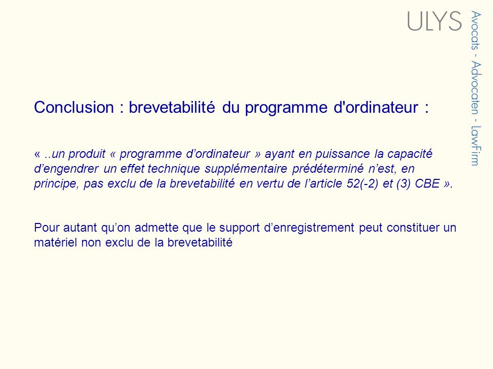 Conclusion : brevetabilité du programme d ordinateur :