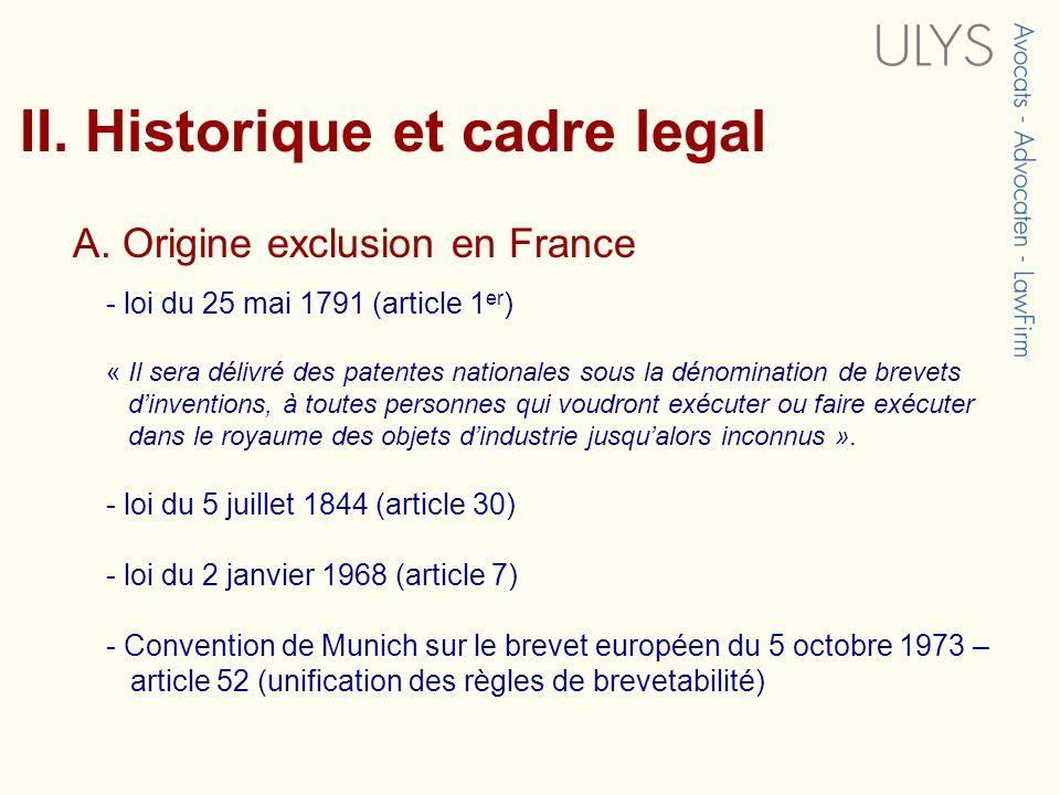 II. Historique et cadre legal